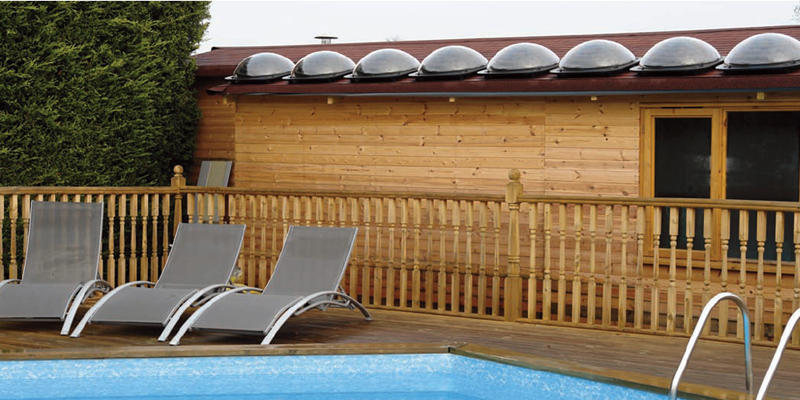 Pods can be fitted to your roof for most solar gains to heat your swimming pool with efficiency